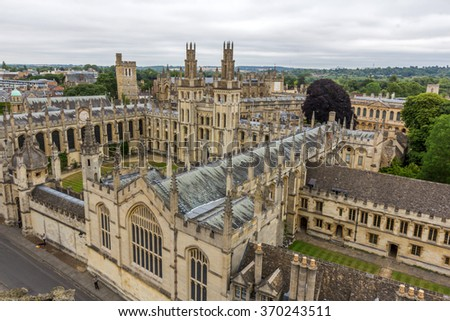 OXFORD, UK - JULY 29, 2015: View of All Souls College, New College, and Hertford College of University of Oxford from the tower of University Church of St Mary the Virgin, Oxford, England. - stock photo