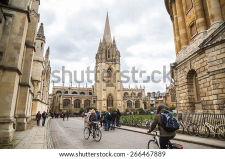 OXFORD, UK - MARCH 27, 2015: University Church of St Mary the Virgin. The oldest part of the church is the tower which dates from around 1270. The church is open to visitors throughout the year. - stock photo