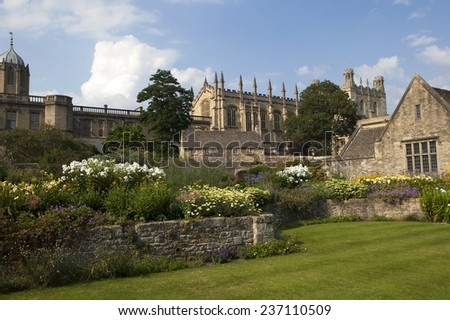 Oxford, UK - MAY 15, 2014, Christ Church Cathedral, College and memorial gardens, Oxford, Oxfordshire, England, United Kingdom, Western Europe.