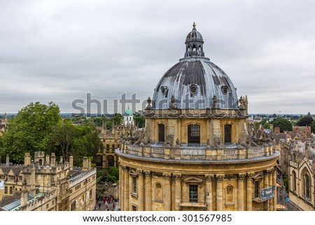 OXFORD, UK - MAY 19, 2015: The Radcliffe Camera is a building that houses the Radcliffe Science Library in the University of Oxford, England.