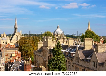 Oxford viewed from Saxon Tower. England - stock photo