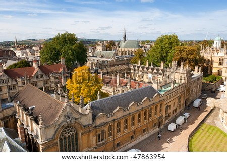 Oxford viewed from St Mary the Virgin Church. England - stock photo