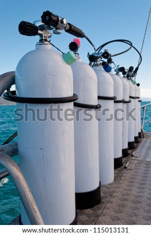 Oxigen tanks for scuba diving - stock photo