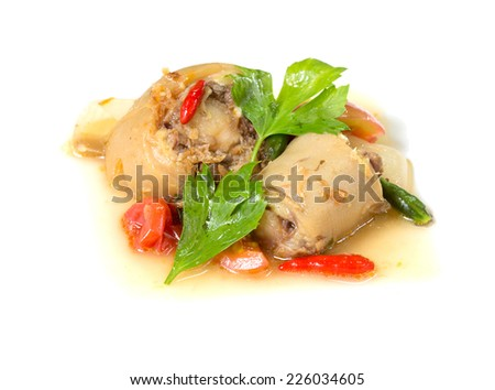 Oxtail soup, halal food, Isolated on white background - stock photo