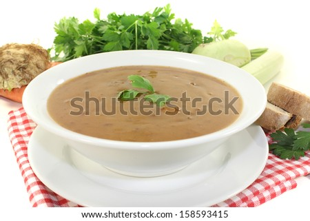 Oxtail soup with baguette on a bright background