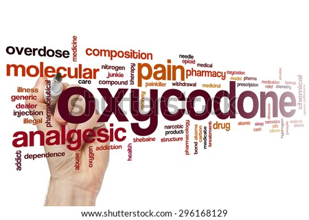 Oxycodone word cloud concept with analgesic pain related tags - stock photo