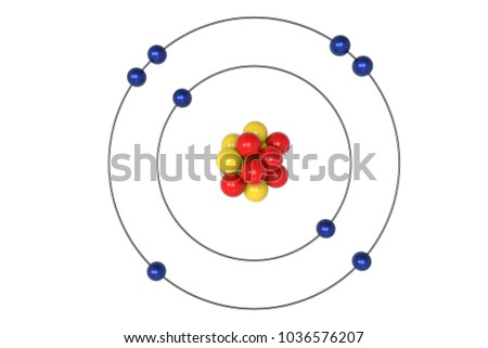 Oxygen Atom Bohr Model Proton Neutron Stock Illustration 1036576207