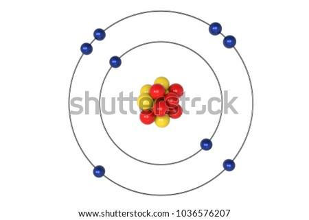 Oxygen Atom Bohr Model Proton Neutron Stock Illustration 1036576207