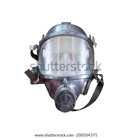 Oxygen mask , Gas mask , Firefighters mask of Firefighters in Thailand. Been through the use and very old Isolated on white background - stock photo