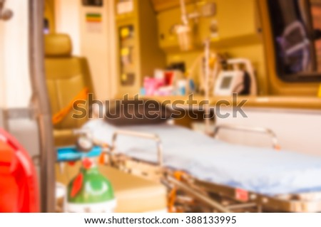 oxygen tank in ambulance use for patient hypoxia which blur for background - stock photo