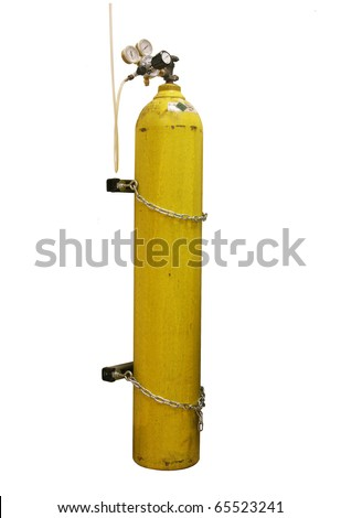 oxygen tank isolated on white - stock photo