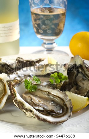 oyster on dish - stock photo