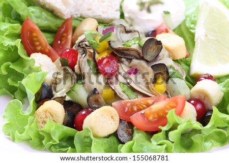 oyster salad with berries fruit - stock photo