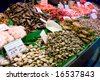 Oysters are rich in zinc - good for men's sexual health!  Shot on Boqueria fish market in Barcelona, Spain - stock photo