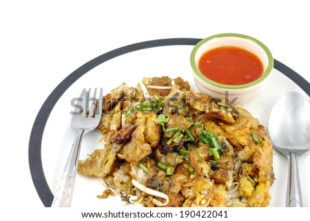 Oysters fried in egg  thai food islate. - stock photo