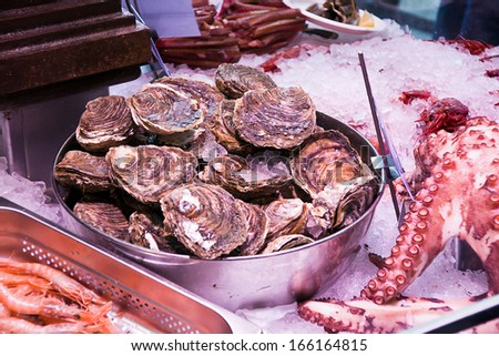 oysters in a market - stock photo