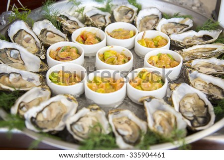 oysters on dish - stock photo