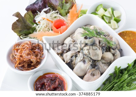 Oysters Spicy Salad of thai food - stock photo