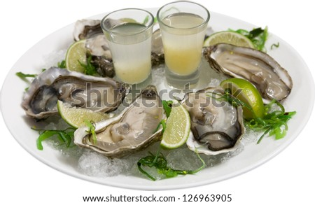 oysters with lemon and ice on a plate