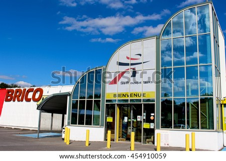 OZOIR LA FERRIERE, FRANCE - JULY 17, 2016: Bricomarche store. Bricomarche is a chain offering a range of building products, DIY, decorating and gardening.