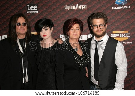 Ozzy Osbourne and Kelly Osbourne with Sharon Osbourne and Jack Osbourne  at Spike Tv's 'Scream 2008'. Greek Theatre, Hollywood, CA. 10-18-08 - stock photo