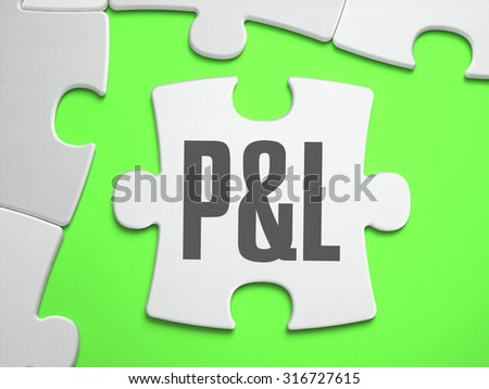 P and L - Profit and Loss - Jigsaw Puzzle with Missing Pieces. Bright Green Background. Close-up. 3d Illustration. - stock photo