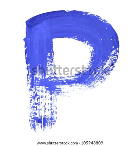 P - Blue handwritten letters over white background