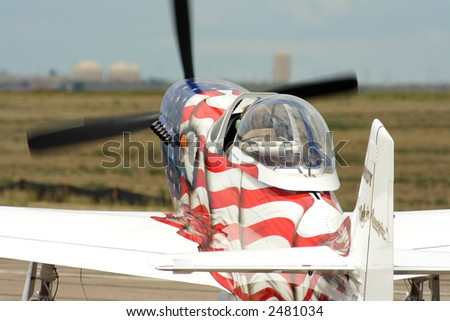 P-51 in patriotic paint - stock photo