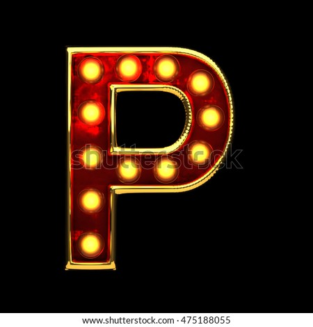 p isolated golden letter with lights on black. 3d illustration