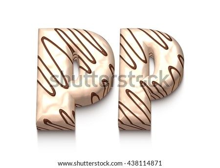 P letter of white chocolate with brown cream in 3d rendered on white background. - stock photo