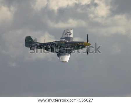 "P-52 ""Mustang"" in flight at Toronto Airshow 2005. - stock photo"