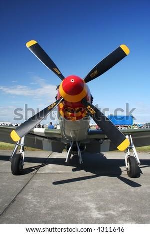P51 Mustang On display at an airshow - stock photo