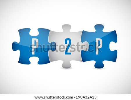 p2p puzzle pieces illustration design over a white background