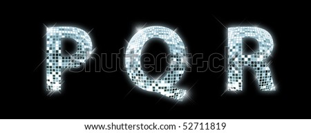 P,Q,R - font made from a disco ball - stock photo