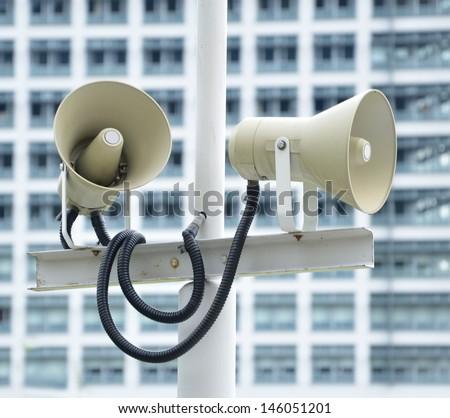PA / Public Address system speakers - stock photo