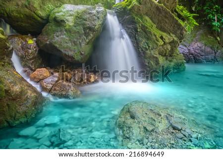 Pa Saen Ron Waterfall, Nakhon Nayok Province, Thailand - stock photo
