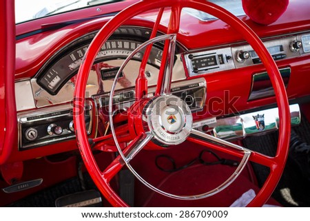 PAAREN IM GLIEN, GERMANY - MAY 23, 2015: Cabin of a full-size car Ford Fairlane 500, 1957. The oldtimer show in MAFZ. - stock photo