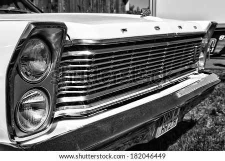 "PAAREN IM GLIEN, GERMANY - MAY 19: Detail of the front of the full-size car Ford Galaxie 500 (Third generation), black and white, ""The oldtimer show"" in MAFZ, May 19, 2013 in Paaren im Glien, Germany"