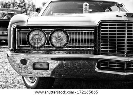 PAAREN IM GLIEN, GERMANY - MAY 19: Headlamp a full-size car Ford LTD (Americas), black and white, The oldtimer show in MAFZ, May 19, 2013 in Paaren im Glien, Germany  - stock photo