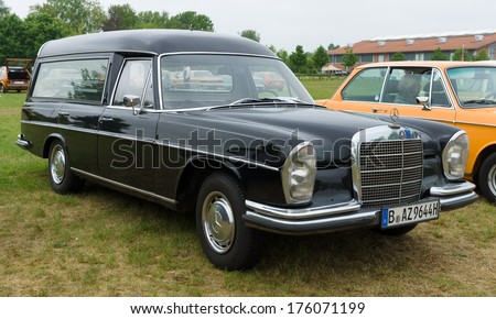 PAAREN IM GLIEN, GERMANY - MAY 19: Hearse Mercedes-Benz W108, The oldtimer show in MAFZ, May 19, 2013 in Paaren im Glien, Germany - stock photo