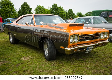 PAAREN IM GLIEN, GERMANY - MAY 23, 2015: Muscle car Plymouth GTX. The oldtimer show in MAFZ. - stock photo
