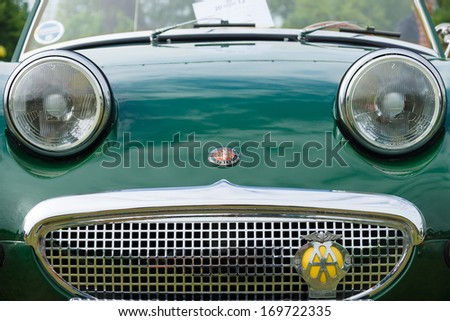 PAAREN IM GLIEN, GERMANY - MAY 19: The two-door roadster, sports car Austin-Healey Sprite, front view, close-up, The oldtimer show in MAFZ, May 19, 2013 in Paaren im Glien, Germany - stock photo