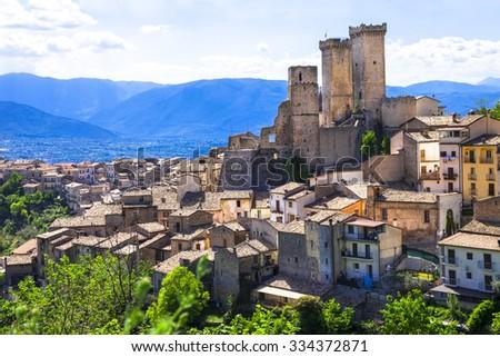 Pacentro - impressive medieval village in Abruzzo,Italy - stock photo