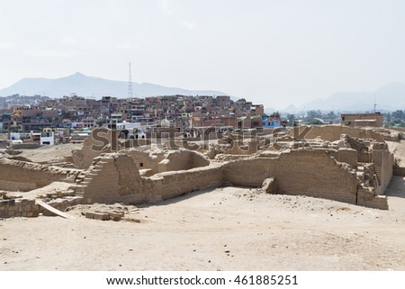 Pachacamac, Lima - May 10 : View of the town of Pachacamac from the ancient ruins as a contrast for life in Peru. May 10 2016 Pachacamac, Lima Peru.