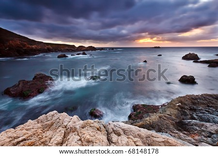 Pacific coast at sunset, California, US - stock photo