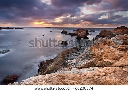 Pacific coast at sunset, California, US - stock photo