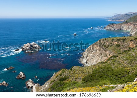 Pacific coastline in California, USA  - Highway one