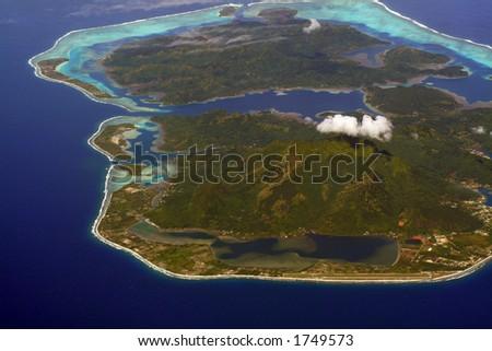 Pacific island aerial view, Huahine, French Polynesia - stock photo
