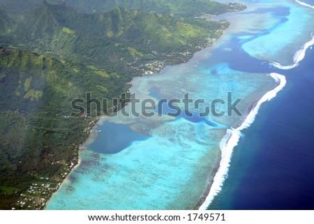 Pacific island lagoon, Moorea, French Polynesia, aerial view - stock photo