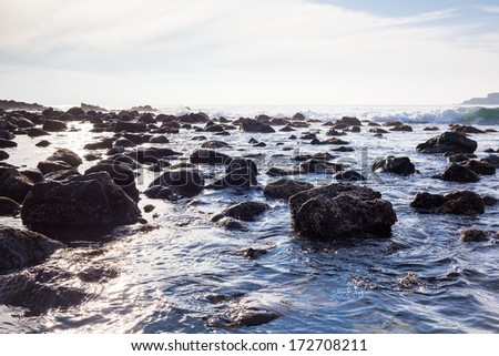 Pacific Ocean along California shoreline - stock photo